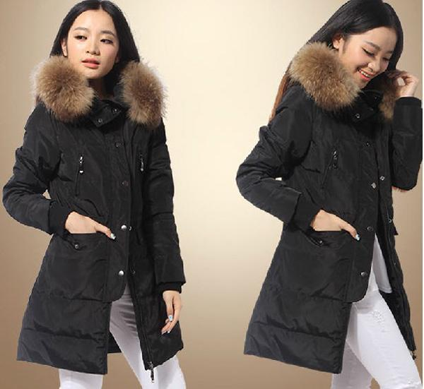 2014 winter women thick long down parkas zipper plus size solid slim coats Faux Raccoon fur collar Korean outerwear S-6XL E524 2014 new winter fur turn down collar white duck down parkas women zipper hooded solid long coats female slimming down s xxl e819