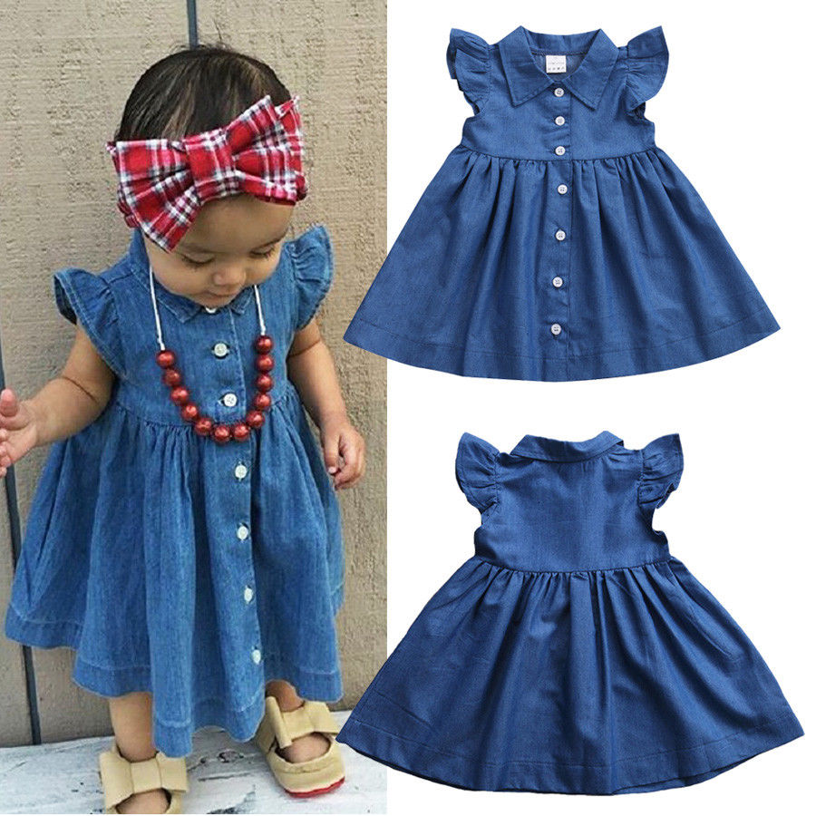 Emmababy Hot Toddler Baby Kids Girl Casual Summer Sundress Party Dress Clothes Denim Blue Party Dress Clothes 1-6T