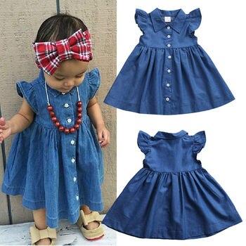Emmababy niño caliente bebé niña Casual verano vestido de fiesta solera ropa Denim azul ropa de fiesta 1-6T