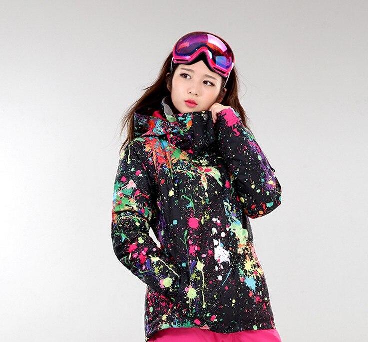 Prix pour 2017 femmes noir ski veste femelle blanc snowboard ski veste imperméable survêtement d'hiver sport en plein air équitation veste