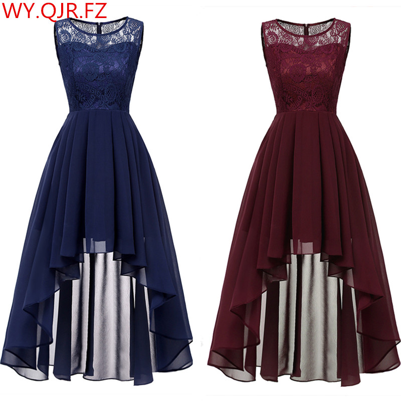 OML536#Summer Sexy Lace Chiffon Dress Dark Blue Wine Red Bridesmaid Dresses Short Wholesale Prom Party Dress Cheap Wholesale