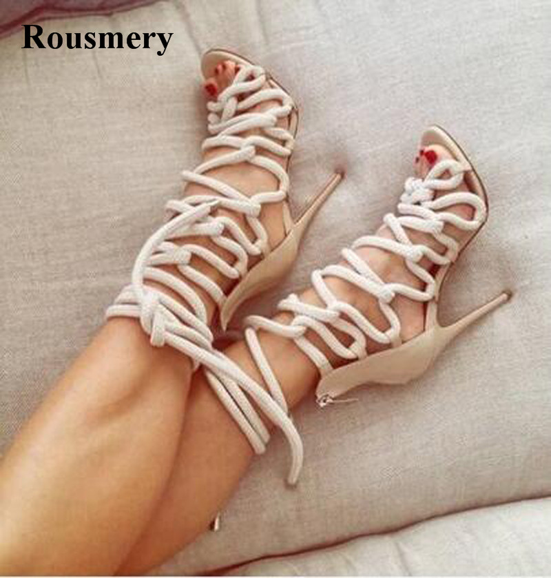New Design Women Fashion Rope Design Lace-up High Heel Sandals White Blue Strap Gladiator Sandals Charming Dress Shoes
