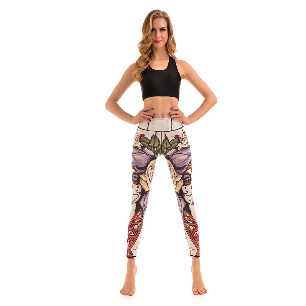 f30d2aaa617 New Floral Funny Face Cotton Elastic Womens Sport Leggings S To 4xl Plus  Size Fitness Running Jogging Dance Pants-in Yoga Pants from Sports    Entertainment ...