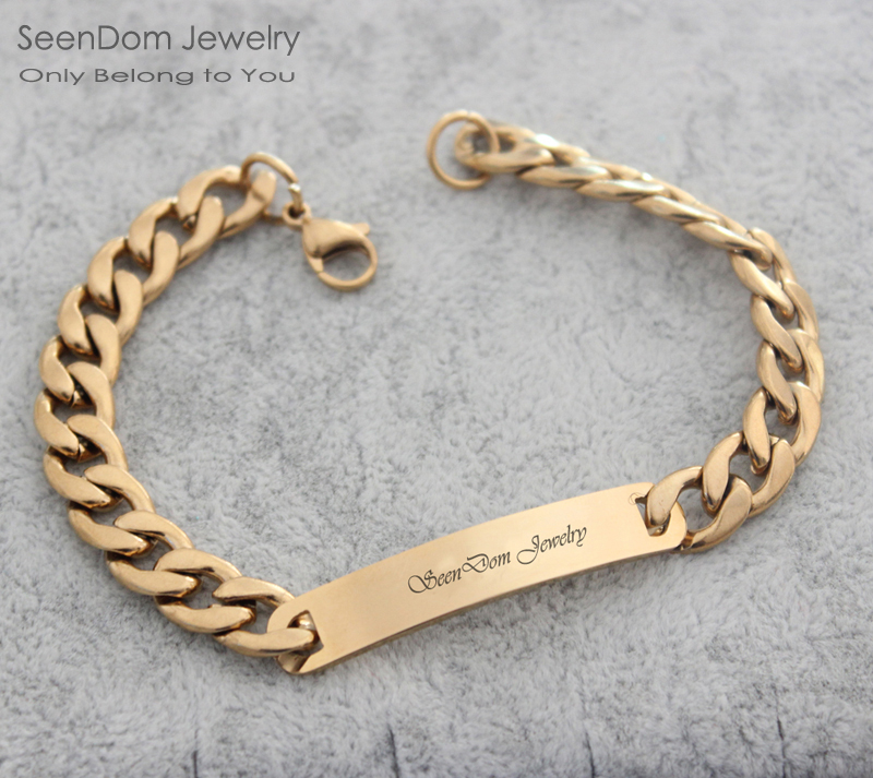 Custom Personalized Name Engraved Cowboy Men Bracelet Customize Words 316 Stainless Steel Women Clothing Accessories In Chain Link Bracelets From