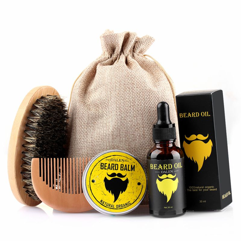 4PCS/SET Men Moustache Cream Beard Oil Kit with Moustache Comb Brush Storage Bag