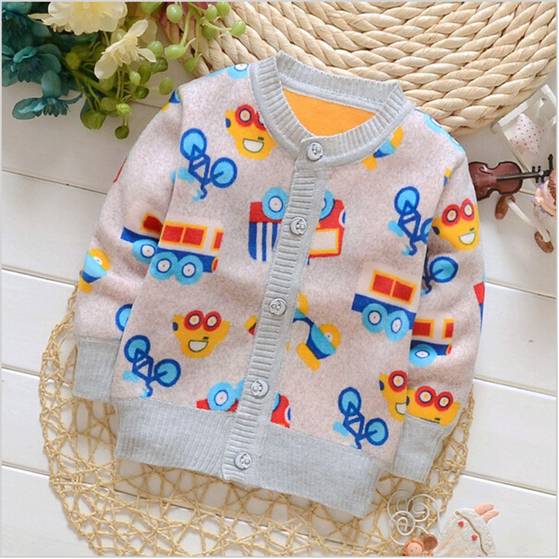 BibiCola Winter Autumn Infant Cartoon Round Collar Baby Boy Girl Fleece Sweater Child Sweater Children Sweater Shirt
