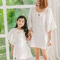2016 Новый Лето Мать Дочь Платье Хлопка Девушка Платье Семья Соответствия Открытый Слабину Платье Childern Белые Одежды