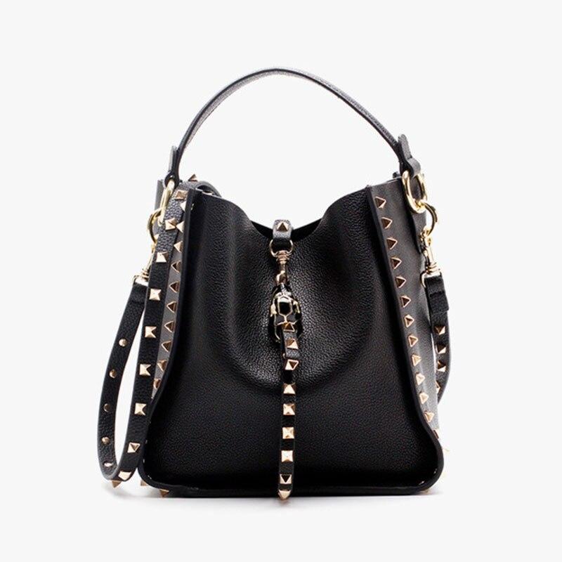 Luxury Handbags Women Bags Designer 2018 New 100% Genuine Leather Bucket Bag Ladies Handbag Rivet Female Shoulder Bag Small pumping bucket bag rivet handbags mini bucket bag