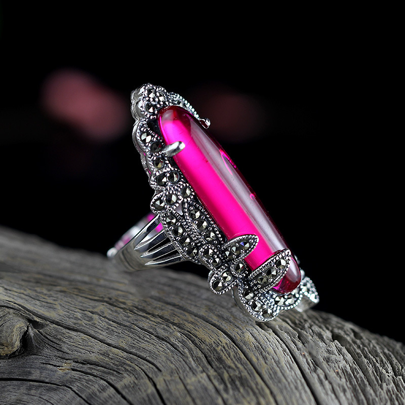 925 sterling silver jewelry inlaid Vintage Silver Ruby droplets Marcasite ring