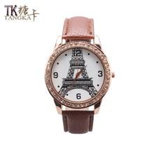 Fashion leisure female watch brown artificial leather strap analog crystal quartz watch digital