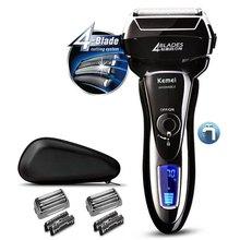 Professionelle 4 klinge rasierer wiederaufladbare elektrische rasierer für männer nass trocken 3D elektrische rasierer bart gesicht rasieren maschine reisetasche