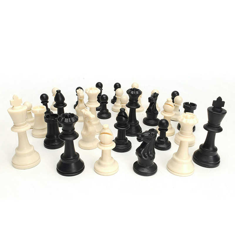 Tournament Chess Set - 90% Plastic Filled Chess Pieces and Green Roll-up Vinyl Chess Board Game