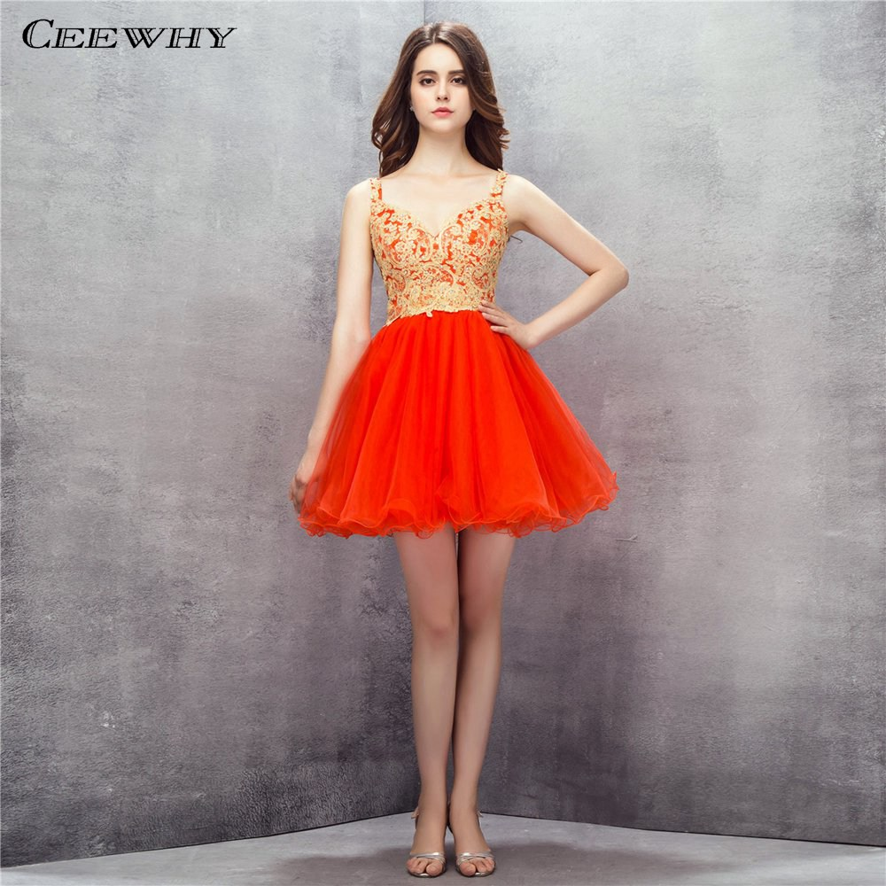 CEEWHY Sweetheart Embroidered Formal   Dress   Tulle Beading Ruffles Prom Gown Above Knee   Cocktail     Dresses   Vestidos Coctel
