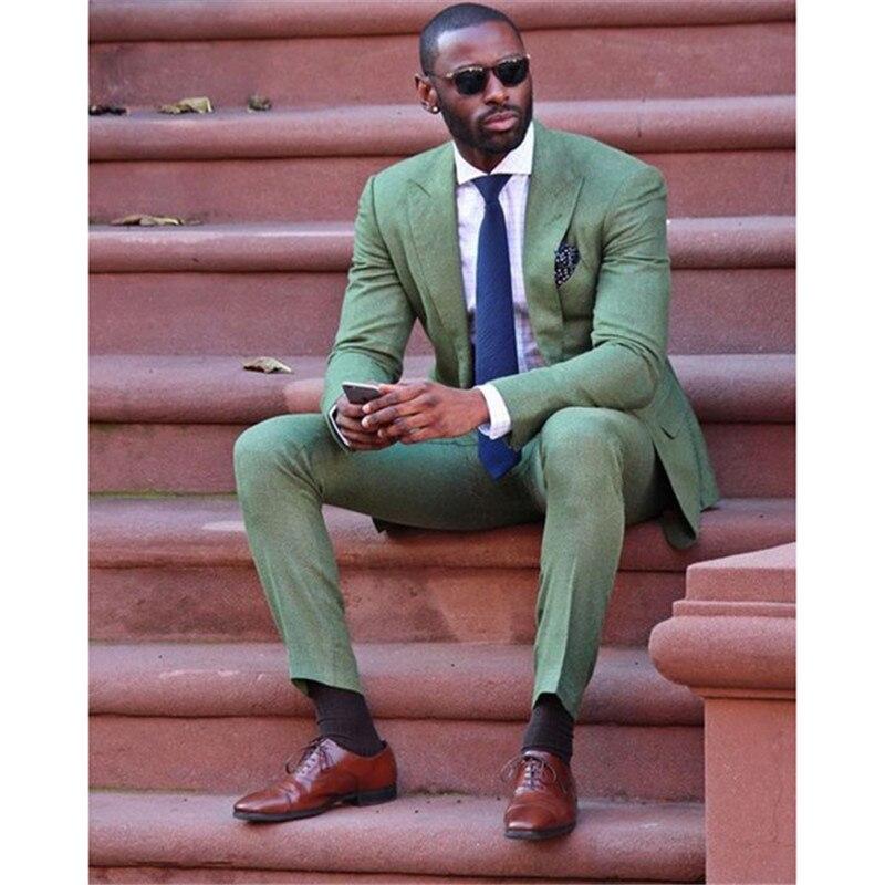 2018 moda slim fit nuevo ejército verde Lino hombres traje de boda fiesta fumar smoking casual work wear Trajes (chaqueta + Pantalones)