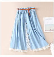 Japan style lace patchwork Belt single breasted skirt denim skirt women 2019 summer