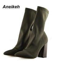 Aneikeh femmes bottes bout pointu fil élastique bottines talon épais talons hauts chaussures femme femme chaussettes bottes 2019 printemps