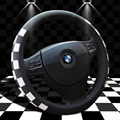 Classical Leather Steering Wheel Cover For Car Accessories Sport Car Steering Covers Plaid Black White Steering-Wheel Racing