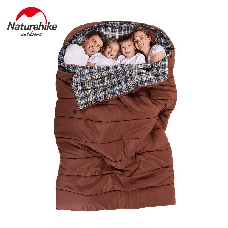 Naturehike grande dormir doble 2-3 persona primavera y otoño gran capacidad de camping senderismo portátil sacos de dormir del sobre