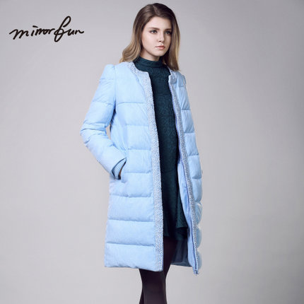 2015 Winter Thicken Warm Woman Down jacket Coat Parkas Outerwear Luxury Splice Lace Neck Mid Long Plus Size XL White
