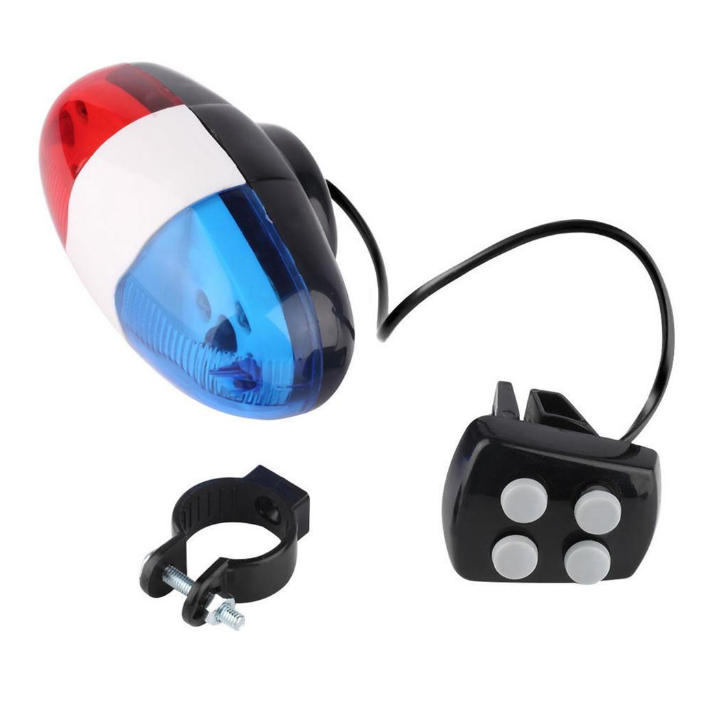 Bicycle Accessories 6 LEDs 4 Tone Sounds Bicycles Bell Police Car Light Electronic Horn Siren for Kid's Bike Scooter