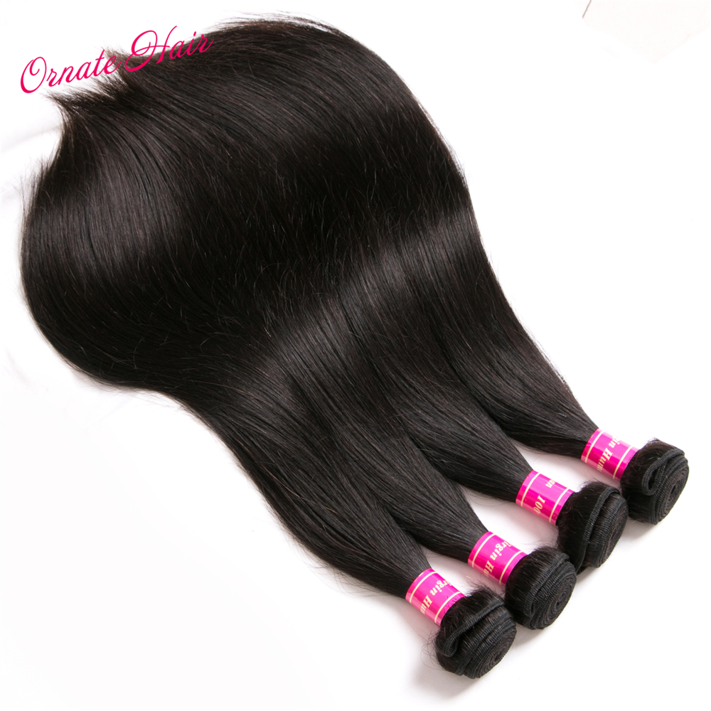 Ornate Brazillian Straight Hair Bundles With Closure 12-28 Inch Human Hair Weave Bundles Non Remy Hair Extensions Lace Closure