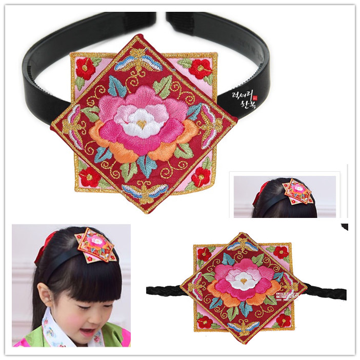 1fda5af3c7e5 Little Girl s Cute Headbands Hair Bands Embroidery Korean Imported Hanbok  Hair Accessories-in Hair Accessories from Mother   Kids