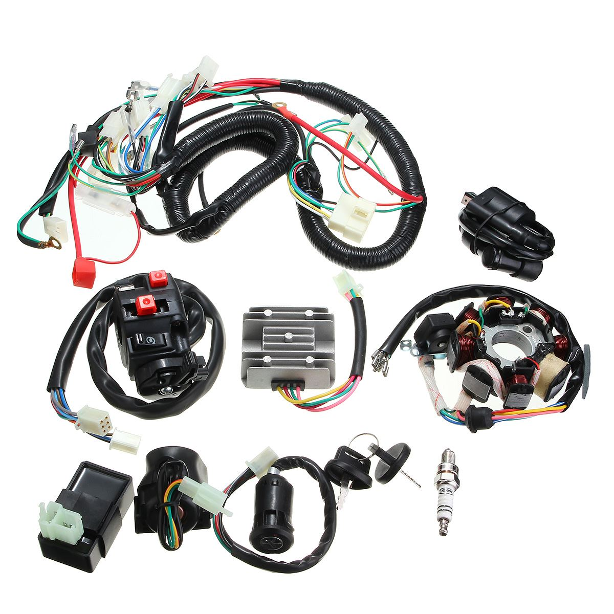 online buy whole engine wiring harness from engine 1 set quad electric cdi coil wire harness stator assembly wiring set for 125 150 200