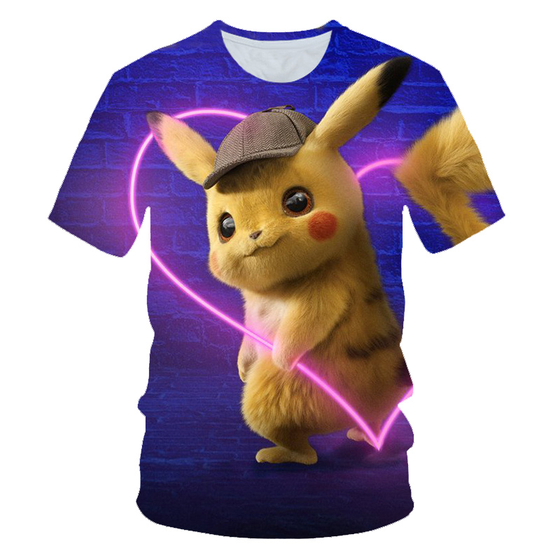 New 2019 lovely movie Detective Pikachu   t     shirt   men women 3D print Novelty funny   t     shirts   summer tops hip hop tshirt streetwear