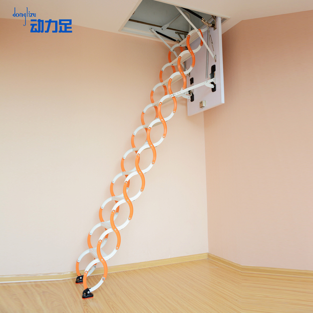 Semi Automatic Retractable Attic Ladder Stairs Villa Duplex Invisible Lift  Home Folding Stairs