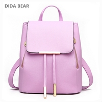 2015 Women Black Backpack New Designer PU Leather Fashion Shoulder Bag School Bag For Teenagers Girls