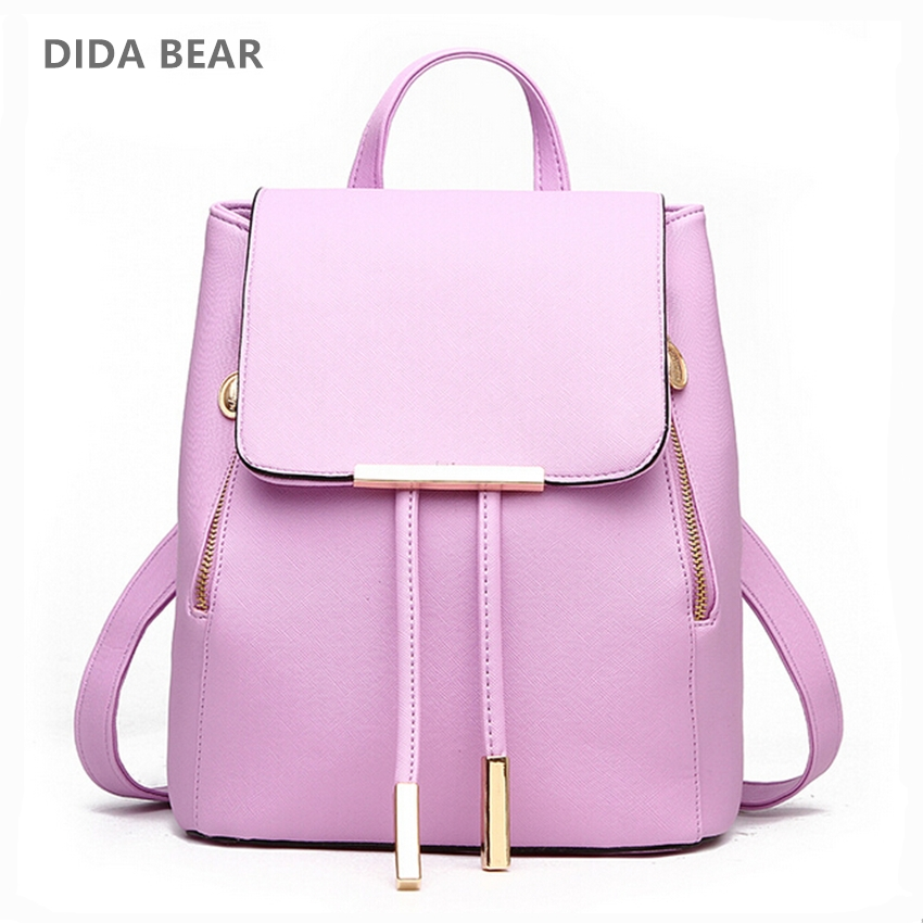 DIDA BEAR Women Backpack High Quality PU Leather Mochila Escolar School Bags For Teenagers Girls Leisure Backpacks Candy Color