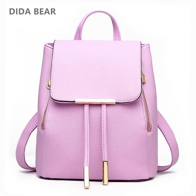 8debc5f7ecf0 DIDA BEAR Women Backpack High Quality PU Leather Mochila Escolar School Bags  For Teenagers Girls Leisure Backpacks Candy Color