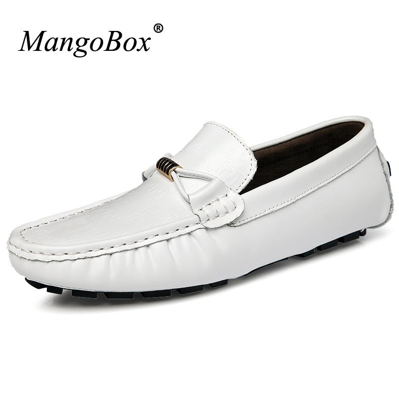 цены MangoBox 2017 Cow Leather Casual Shoes Men Fashion New Flats Loafers Men Casual Sneakers Blue White Black Slip On Shoes For Men