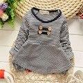 2015 Ocasional Outono Do Bebê Das Crianças Dos Miúdos Meninas Babi Infantil Manga Longa Tops T-shirts MT242