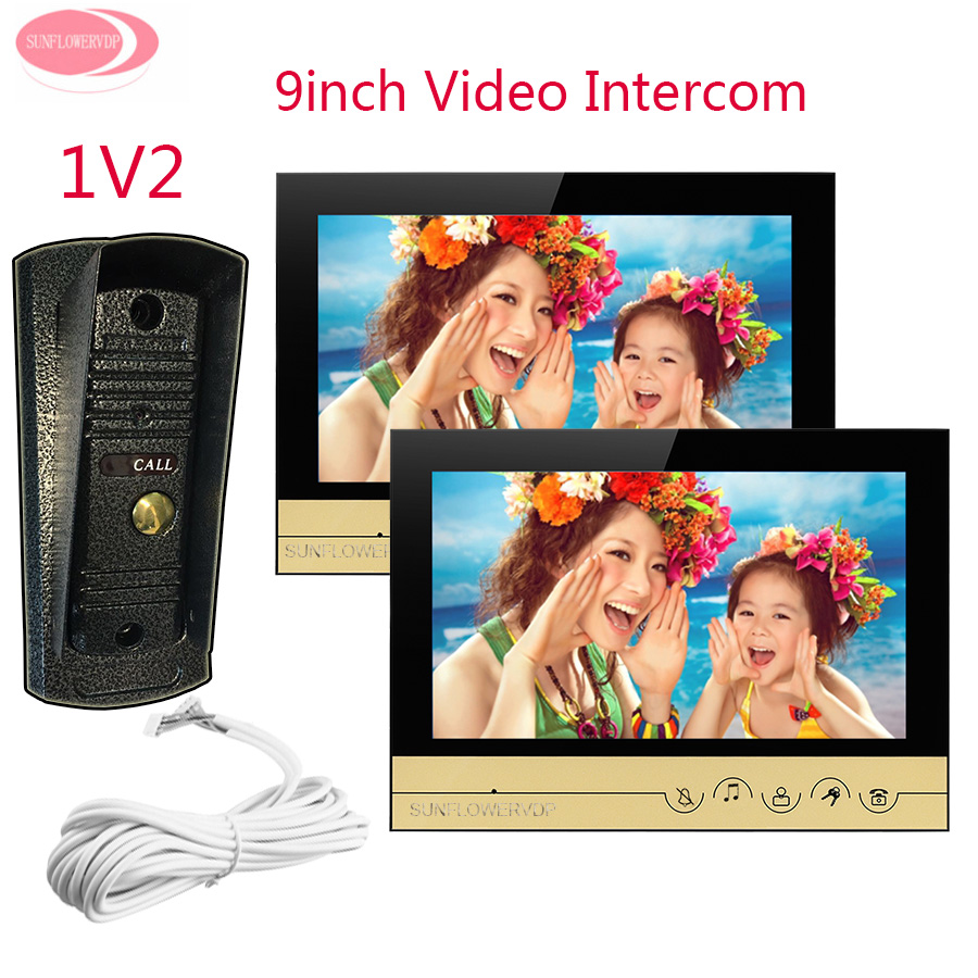 Video Call for The Entrance Door 9 Color Screen Video DoorPhone Intercom System 2 Monitors Night Vision Metal Waterproof Camera 7 inch video doorbell tft lcd hd screen wired video doorphone for villa one monitor with one metal outdoor unit night vision