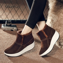 SWYIVY/женские зимние ботинки; теплые зимние ботинки на платформе; Новинка года; бархатные Нескользящие женские кроссовки; светильник; хлопковая обувь