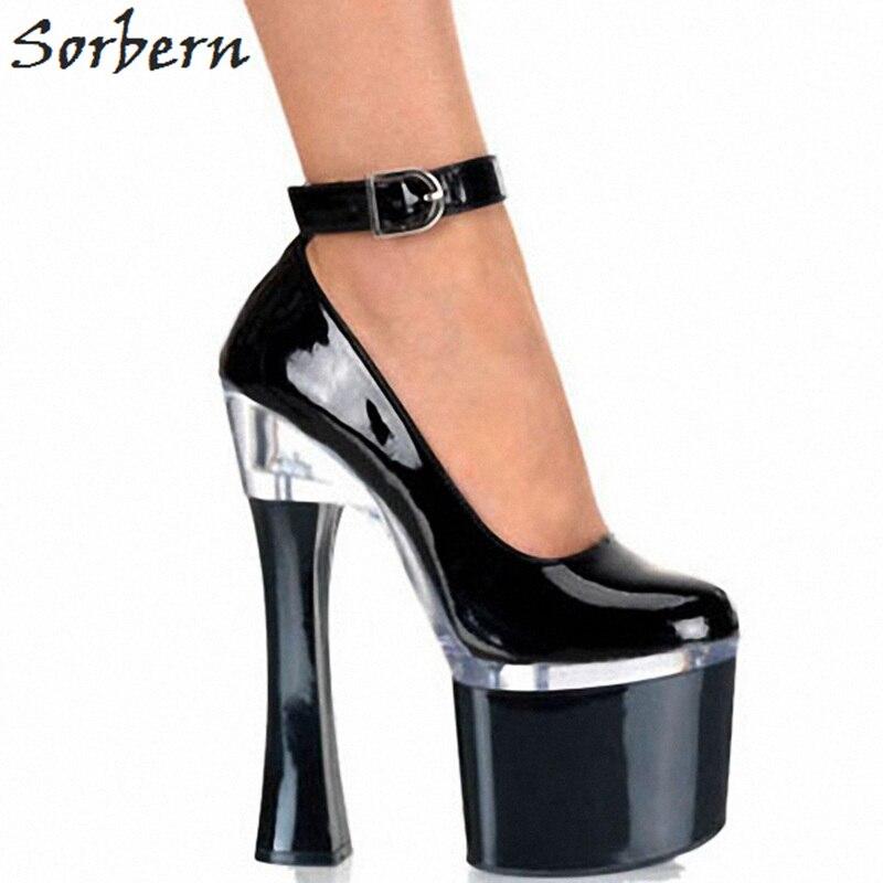 Sorbern винтажная женская обувь белые каблуки квадратный высокий каблук 18 см ремешок на см щиколотке 8 см толстая платформа обувь женская 2018 Новинка обувь - 2