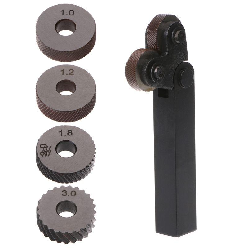 2pcs Steel Dual Wheel Diagonal Linear Knurl Wheels Knurling Knurler Tool 1.0/1.2/1.8/3.0mm Pitch Linear Pitch Knurl Set