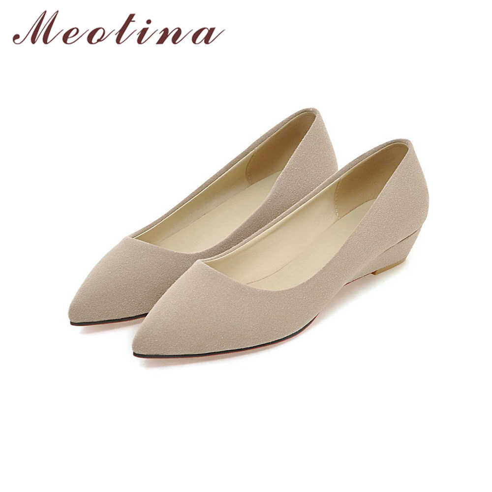 Zapatos de tacón de cuña para mujer, zapatos para mujer, zapatos de punta estrecha para mujer, zapatos de trabajo para otoño, cuñas, color verde albaricoque, talla grande 42 43