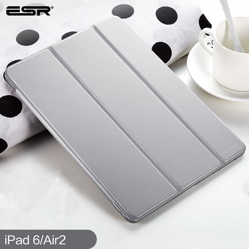 Case for iPad Air 2 A1566 A1567, ESR Magnetic PU Leather Case Smart Cover with Auto Sleep/ Wake Up for iPad 6 for iPad Air 2 cover for ipad air 2 a1566 a1567 szegychx pu leather smart cover stand case shell tablet case for ipad 6 for ipad 9 7 inch