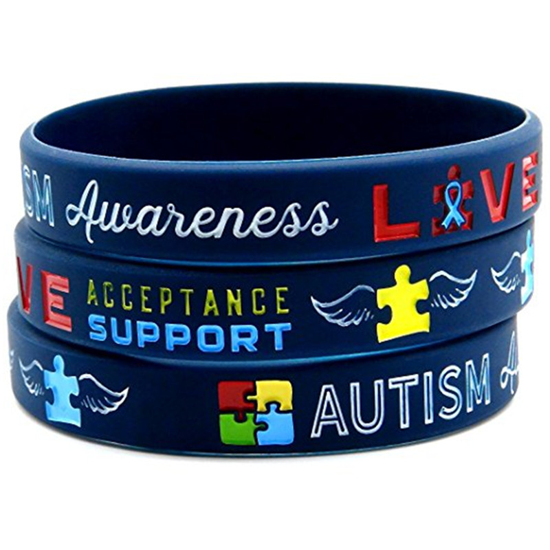 Us 2 5 1pc Medical Alert Autism Awareness Rainbow Silicone Rubber Bracelet Wristband Shipping In Wrap Bracelets From Jewelry Accessories On