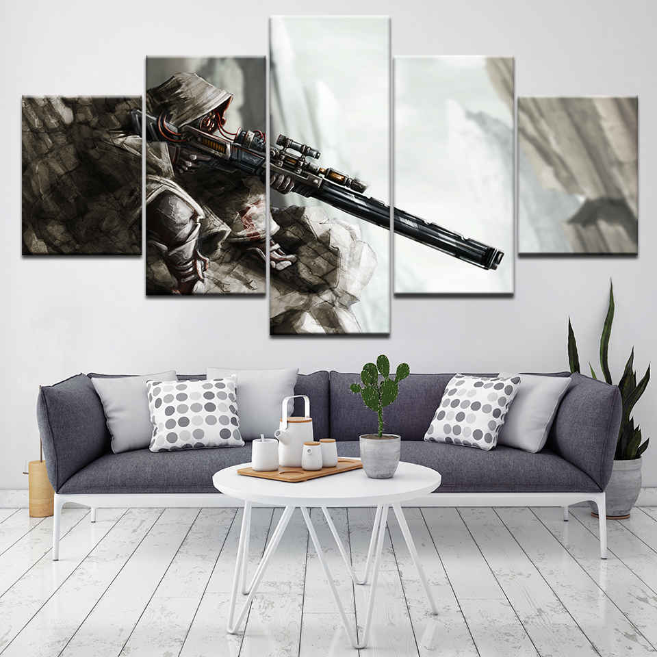 5 panel canvas frame wall artwork fantasy weapon sniper rifle destiny video game Character Modular home decor picture