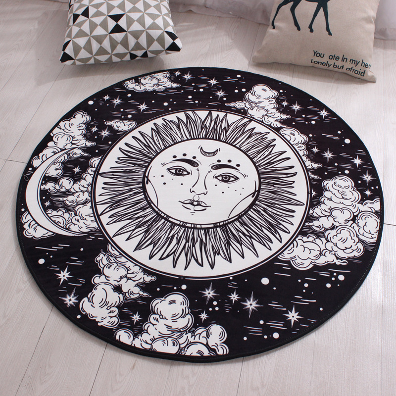 new style a2d46 fc62f Black Round Carpet Polyester Non-slip Kids Rugs Floor Tapete Computer Round  Rugs For Home Diameters 60 80 100 120cm Mat - us578