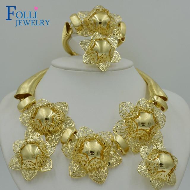 2017 Top Exquisite Dubai Jewelry Set Luxury Gold Color Big Nigerian