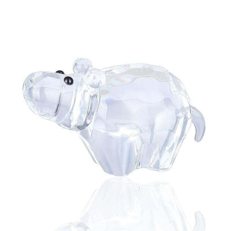 H & D Crystal lindo hipopótamo Figurine colección Cristal Tallado ornamento estatua Mini Animal Colección Arte en vidrio