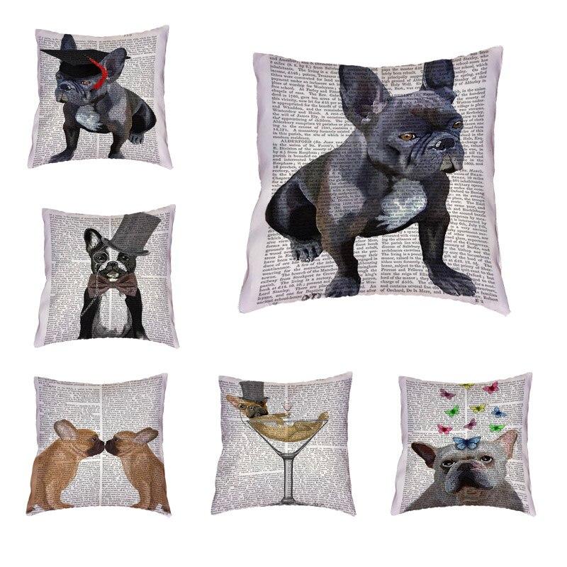 Animal Car-covers Cushion Cover Newspaper Dog Peach skin Decor Throw Pillowcase Children Gifts Almofadas Fundas Cushion Cover