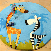 Child Cartoon Circle Carpet Computer Chair Living Room Coffee Table Handmade Polyacrylonitrile Fiber Carpet
