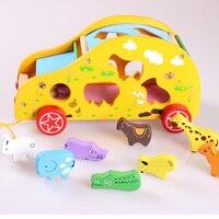Kids Cartoon Animals Shape Match Bricks Car Toy Montessori Materials Wooden Educational Toys For Children Blocks Christmas Gift