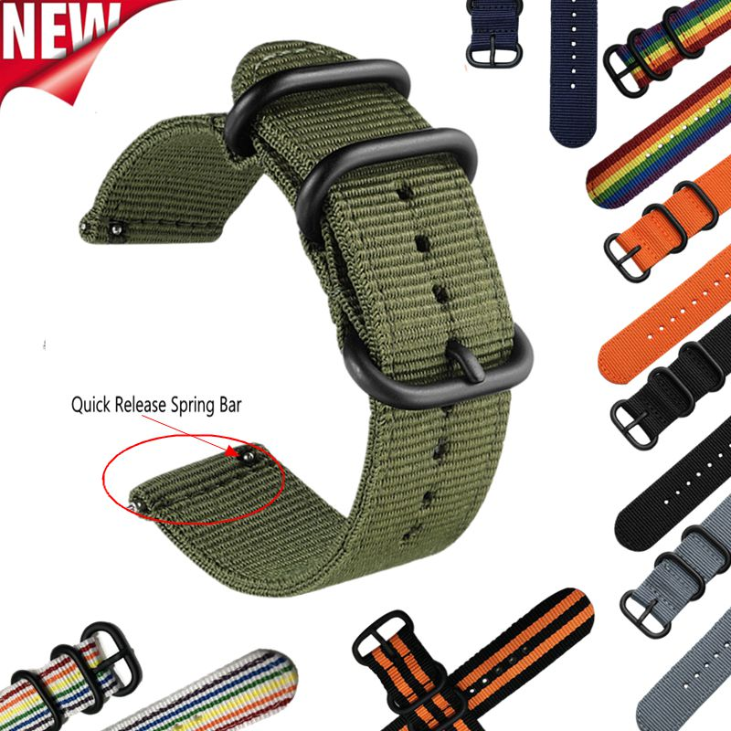 22mm 20mm 24/18mm Nato Nylon Watch Band Strap Accessories for Amazfit Samsung Gear S3/S2 Sport Galaxy Watch 46mm Ticwatch Pro/E