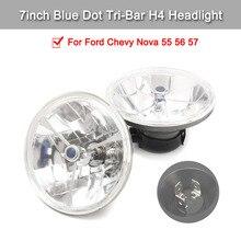 1 Pair of 7inch Blue Dot Tri-Bar H4 Headlight Clear Lens Signal Lamp Waterproof For Ford Chevy Nova 55 56 57